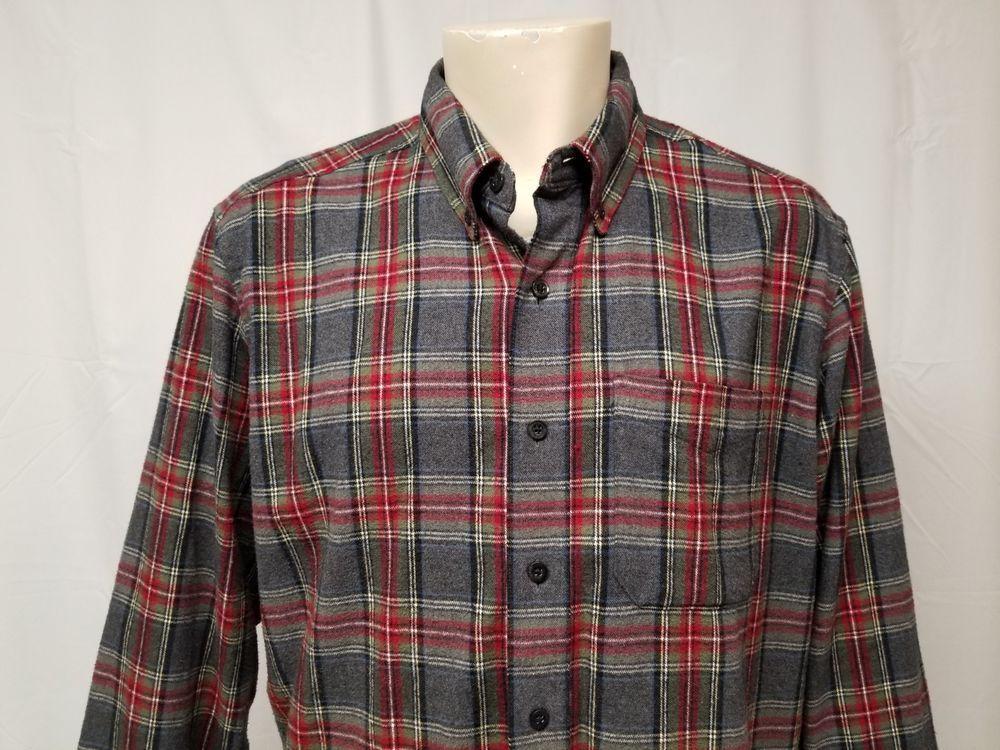 7f95d377ff4f LL BEAN Gray Stewart Plaid Flannel Shirt 100% Cotton Mens L TALL Grunge 90s   LLBean  ButtonFront