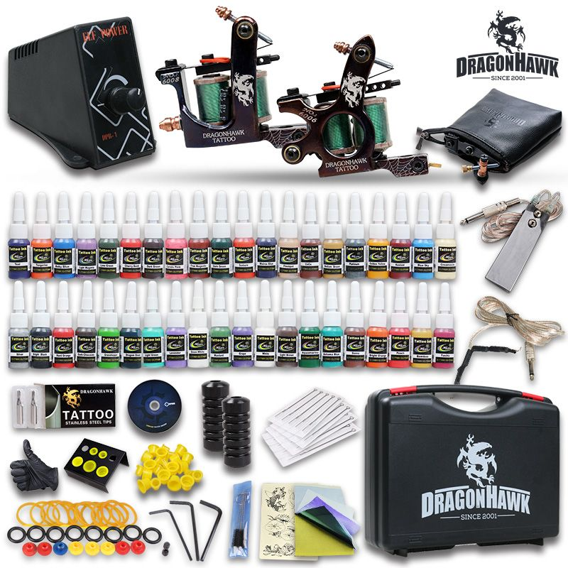 Newest Tattoo Kit 2 Tattoo Machine Power Supply Needles 40 Inks Diy