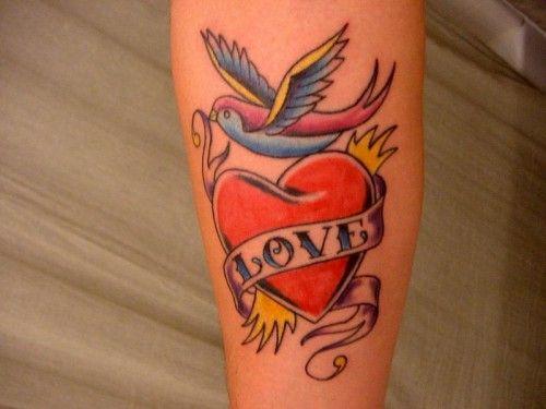 Bird And Heart Tattoo Amazing Tattoo Ideas Hand Tattoos For Guys Heart Tattoo Cool Shoulder Tattoos