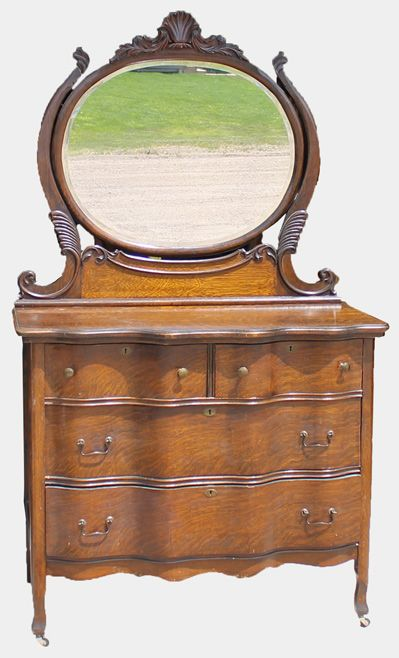 Oak Dresser With Round Shaped Mirror Antique Furniture In 2019