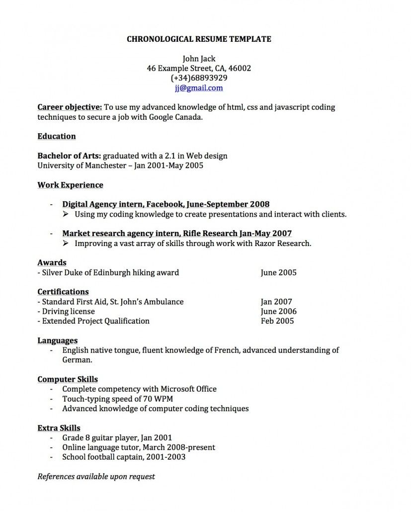 Free Chronological Resume Templates  HttpJobresumesampleCom