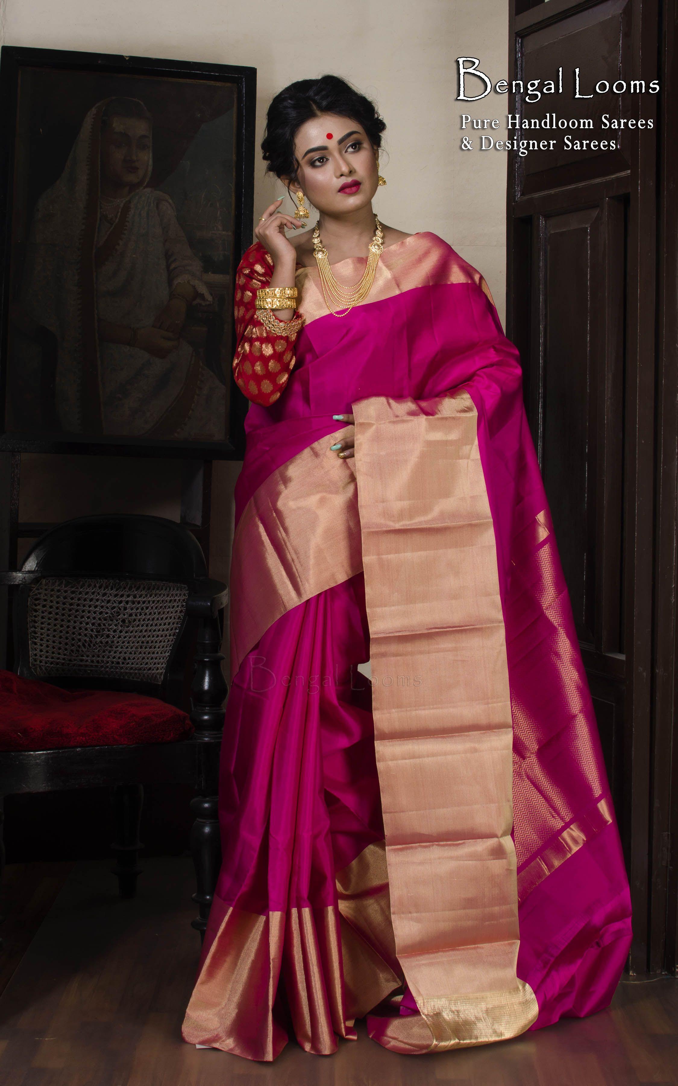 Pure Kanjivaram Silk Saree in Rani and Gold | Kanjivaram ...