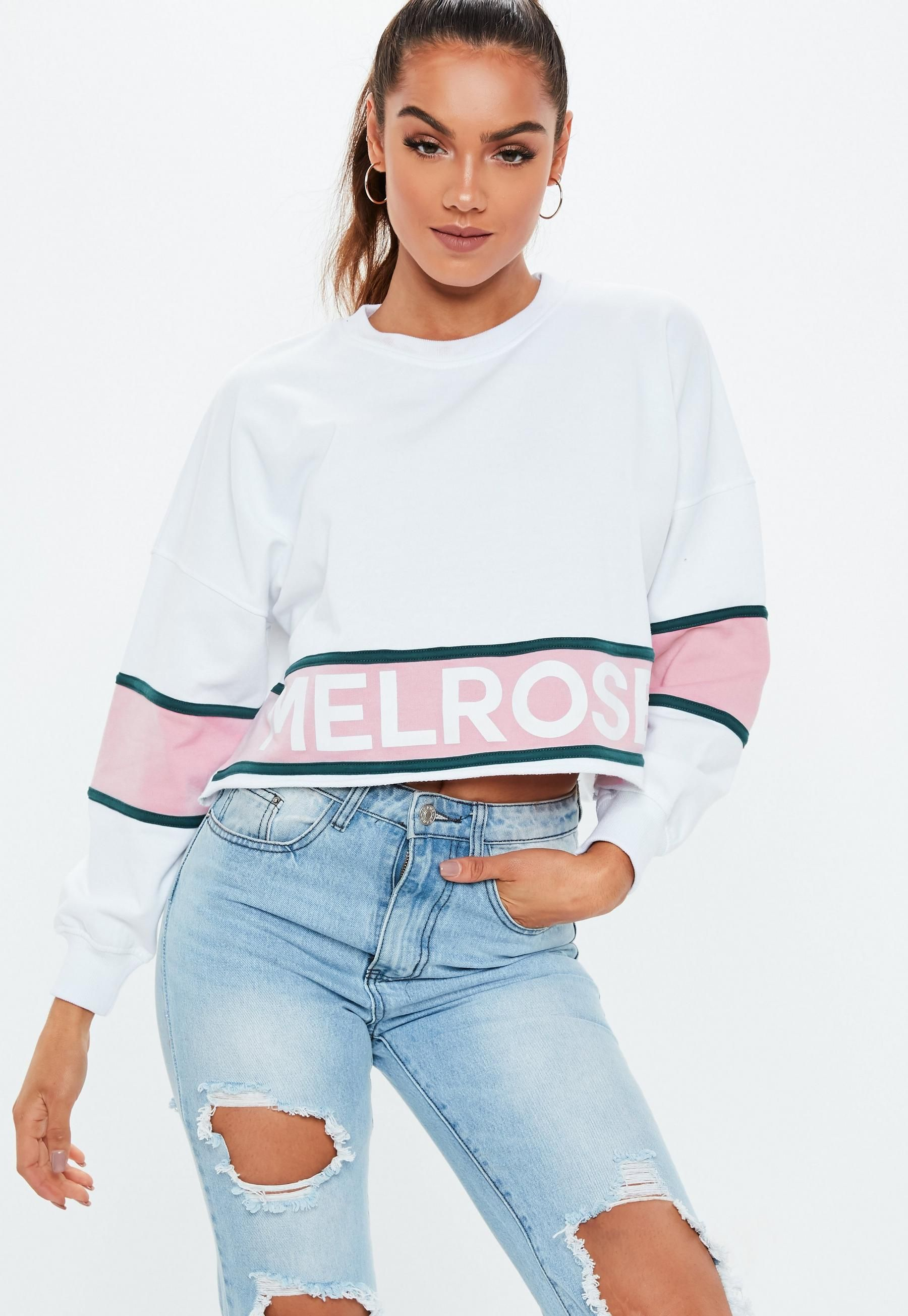 bffd4ed87b8 Missguided - White Melrose Colourblock Sweatshirt in 2019