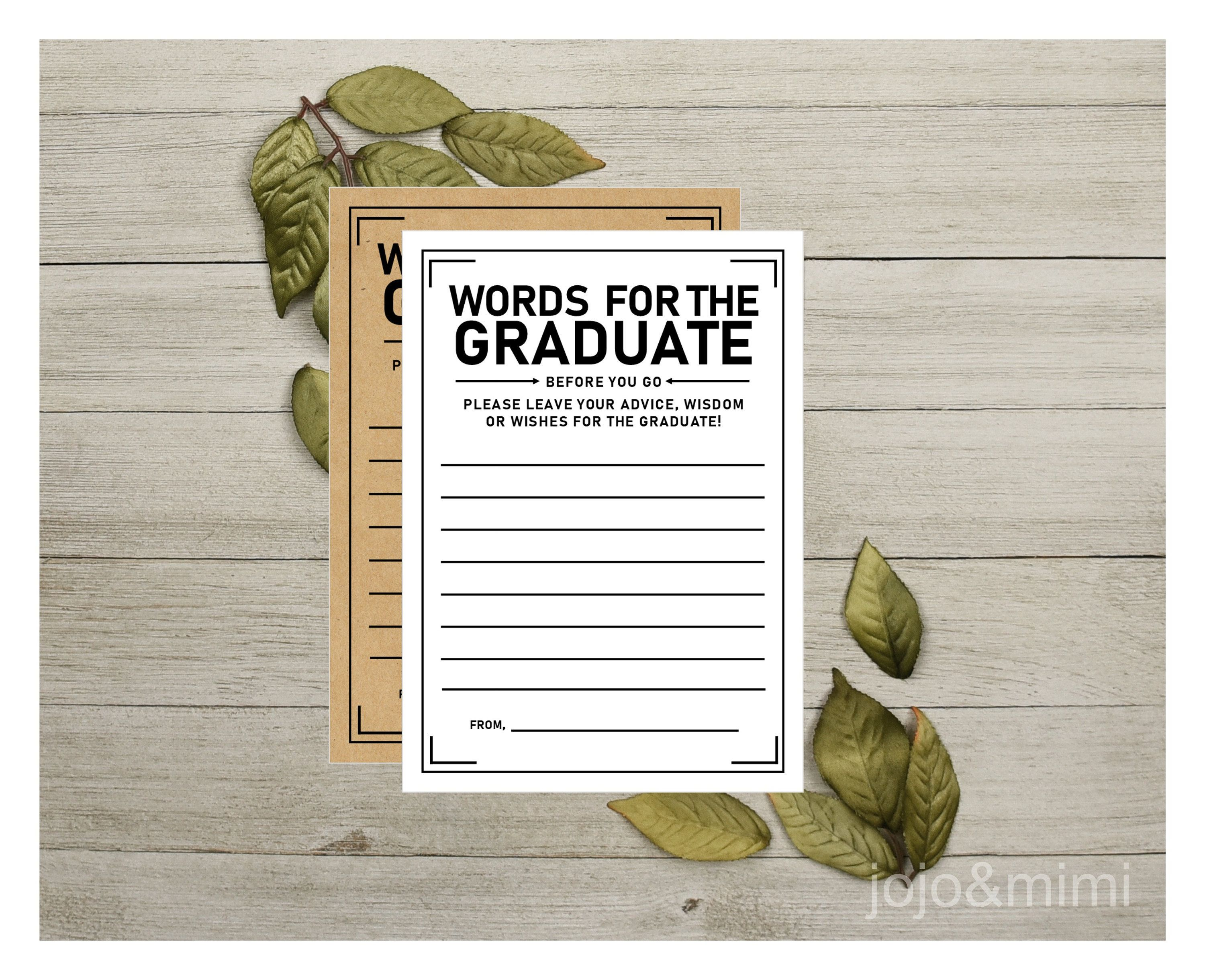Instant Words For The Graduate Printable Graduation