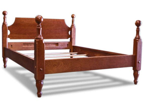 Solid Cherry Cannonball Bed Queen Natural Finish By Shakastudios 3971 00 Furniture Headboard Styles Cannonball Bed