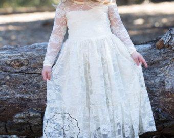 Lace girl dress flower girl dress flower girl lace by byFancyPants