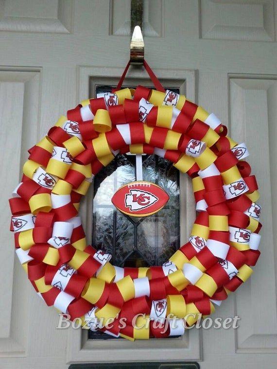 Photo of Show your boss's pride! Football ribbon wreath, Kansas City Chiefs, KC Chiefs, Chiefs decor, Chiefs wreath, Christmas gift, cyber sale