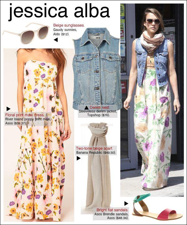 89ca50cf569a I want to dress like this !  maxi dress  denim  vest  sandals  scarf ...