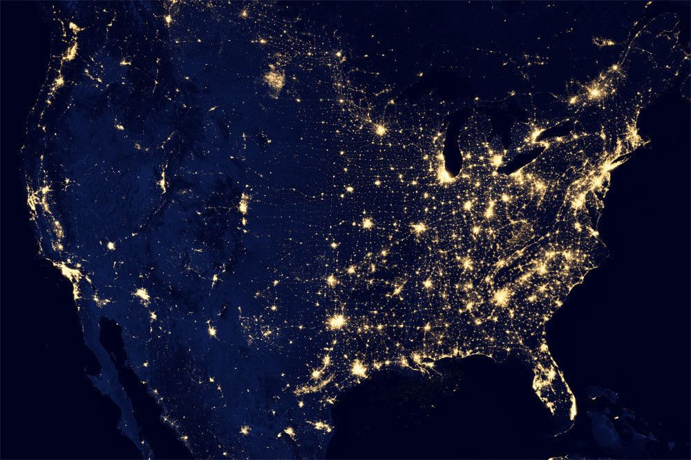 City Lights United States Of America Earth At Night Light Pollution Earth From Space