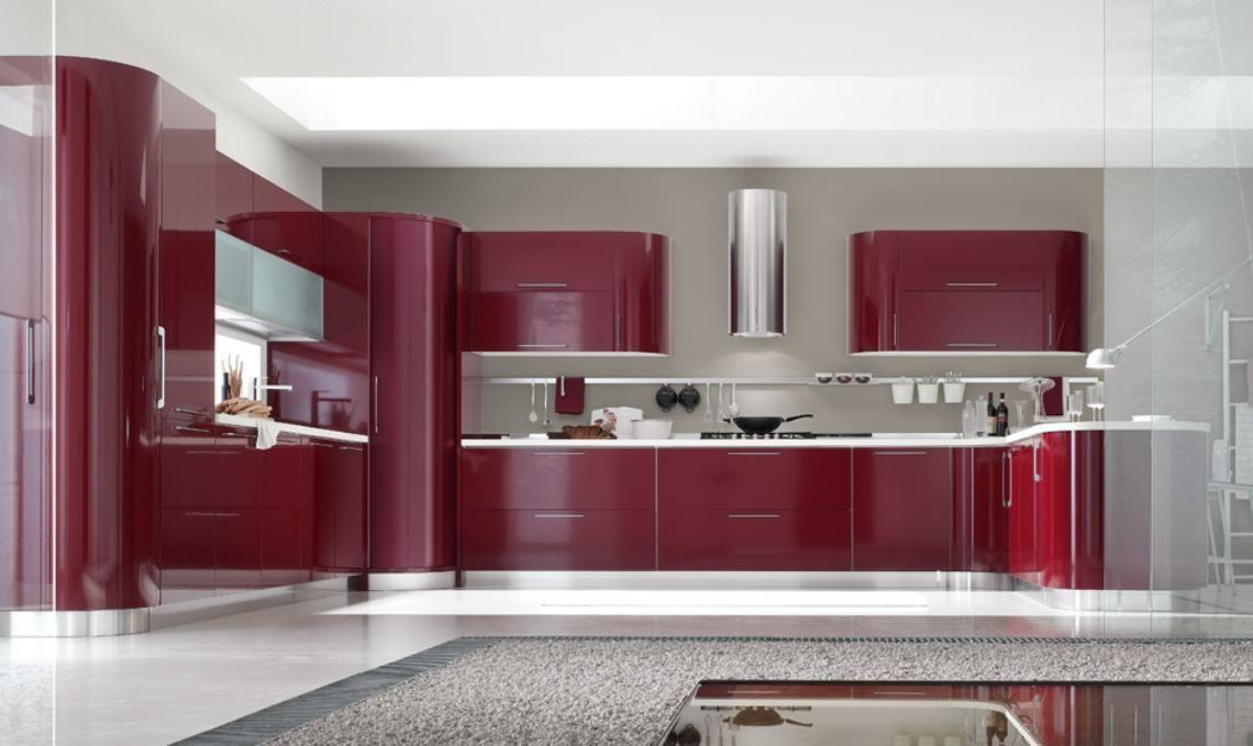 Cocinas integrales modernas rojas decorar una cocina con el ...
