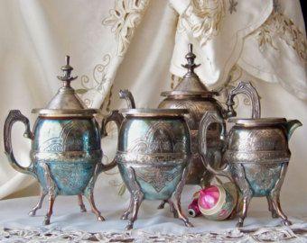 Antique Tea Service Horse Hoof Leg Detail 1898 Silverplate Teapot Creamer Sugar Tea Set Manhattan Silver Plate Co