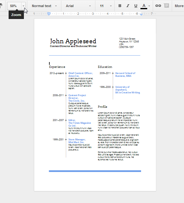 create an eye catching resume in google docs