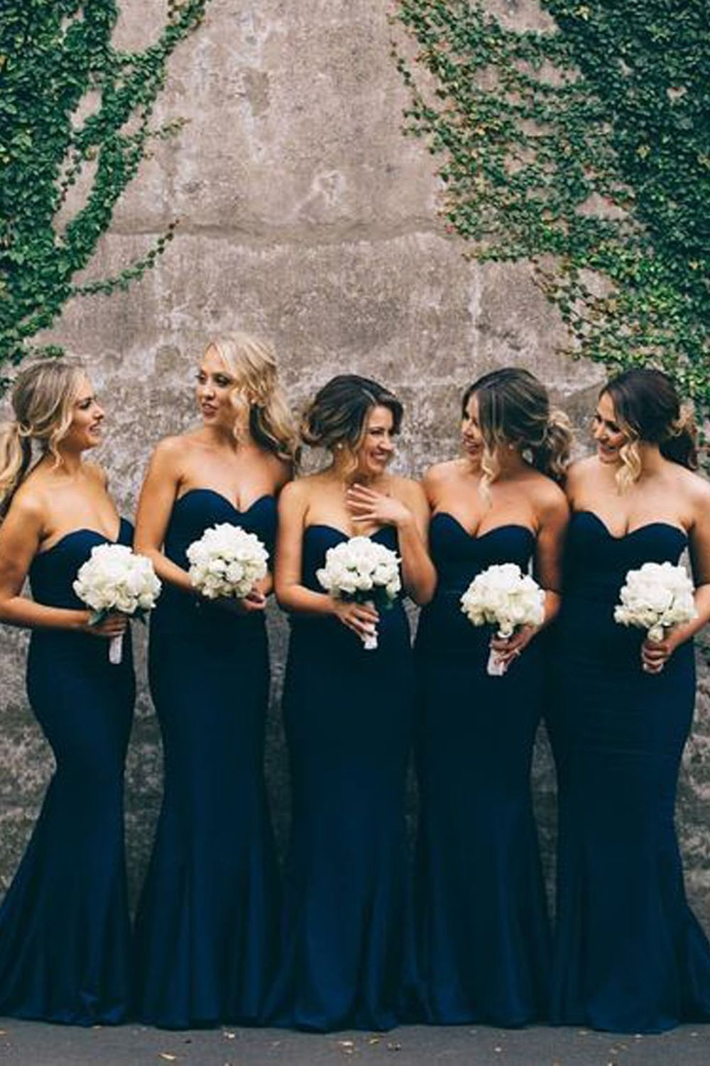 0e2673f34f4 Mermaid Sweetheart Navy Blue Long Bridesmaid Dresses Wedding Party Dresses  BD010322
