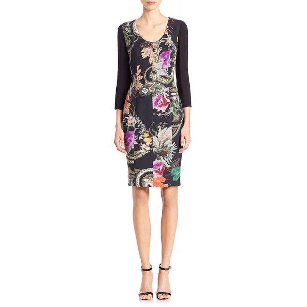 Etro Floral-Print Sheath Dress (781 CAD) ❤ liked on Polyvore featuring dresses, apparel & accessories, black, three quarter sleeve dress, etro, etro dresses, scoop neck dress and scoop-neck dresses