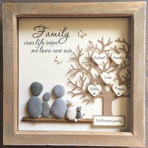 Regalo para padres, Pebble Art, Árbol genealógico, Regalo de bodas, Familia Pebble Art, Regalos para mamá, Pebble Pictures, Regalo para padres, Árbol genealógico.