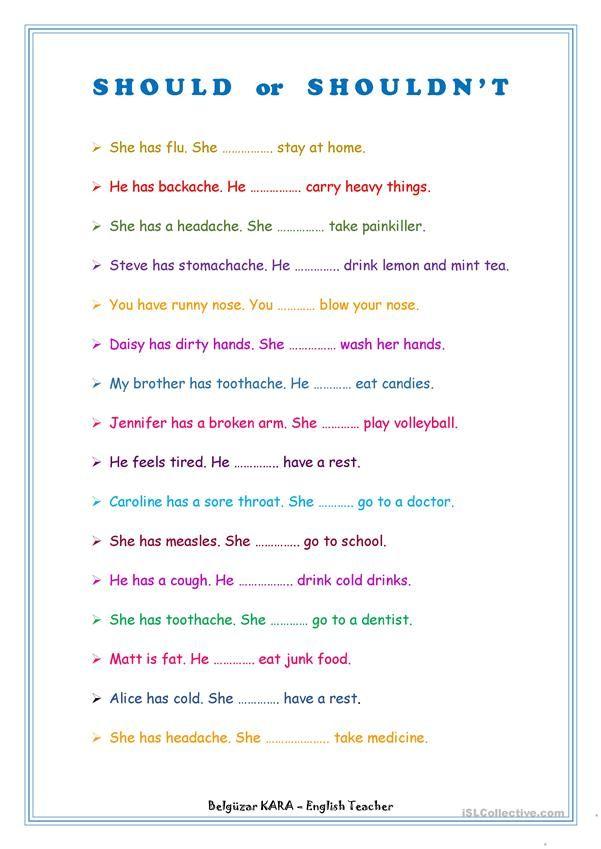 Should - Shouldn\'t | English classes! | Pinterest