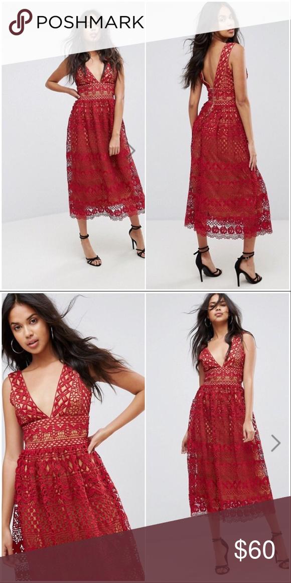 Boohoo Lace Overlay Midi Dress Asos Lace Overlay Midi