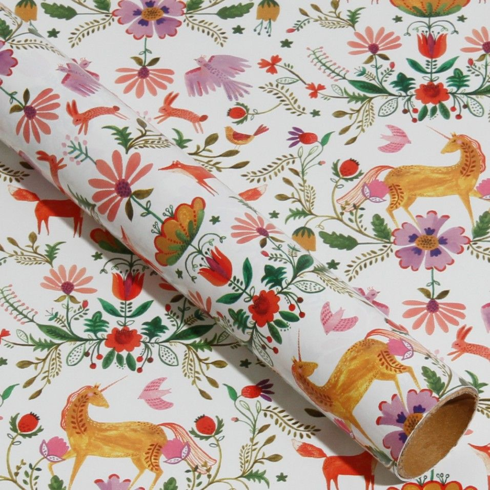 Unicorn garden 3m roll wrapping paper