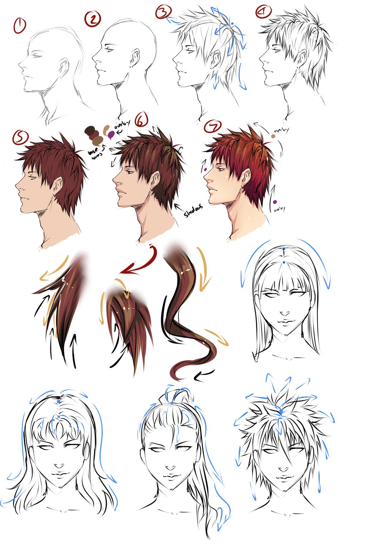 Drawing Anime Hair by *moni158 on deviantART Como