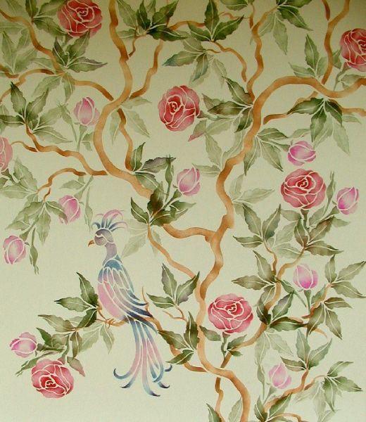 Wall Stencil Chinese Rose Tree Chinoiserie Walls Stencils Plaster Stencils Painting Stencils Plaster Molds Wallpaper Stencil Flower Wall Stencil Stencils Wall