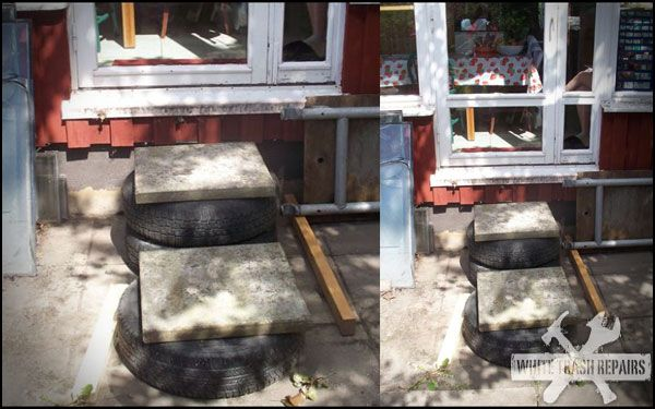 Tired Stairs - White Trash Repairs  @Judy Miller @Jeanne Calkins
