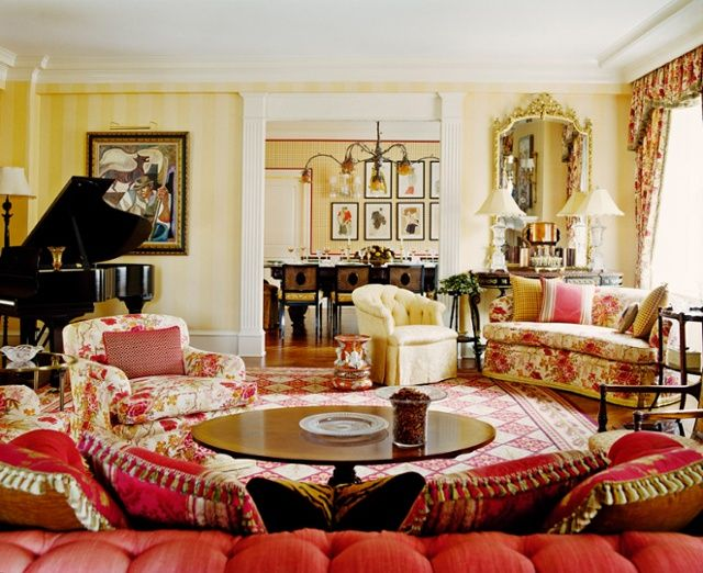 Red Needlepoint Rug By Asmara In Park Avenue Living Room Gideon Mendelson
