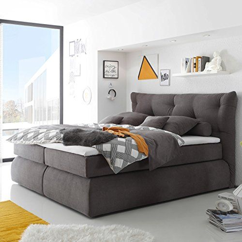 Luxus Boxspringbett MADISON 180x200 cm grau Microvelour inkl