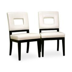 Keyhole Dining Chair Faustino White Bicast Leather Dining Chair