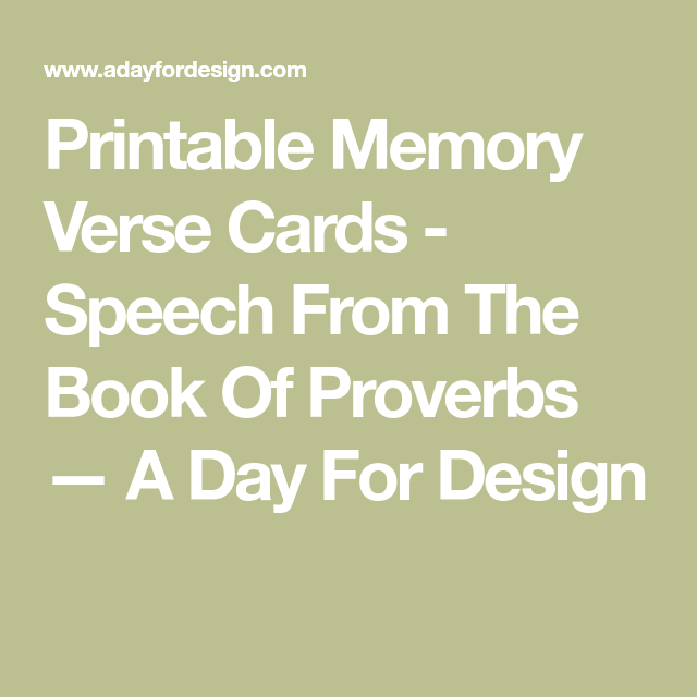 Printable Memory Verse Cards - Speech From The Book Of