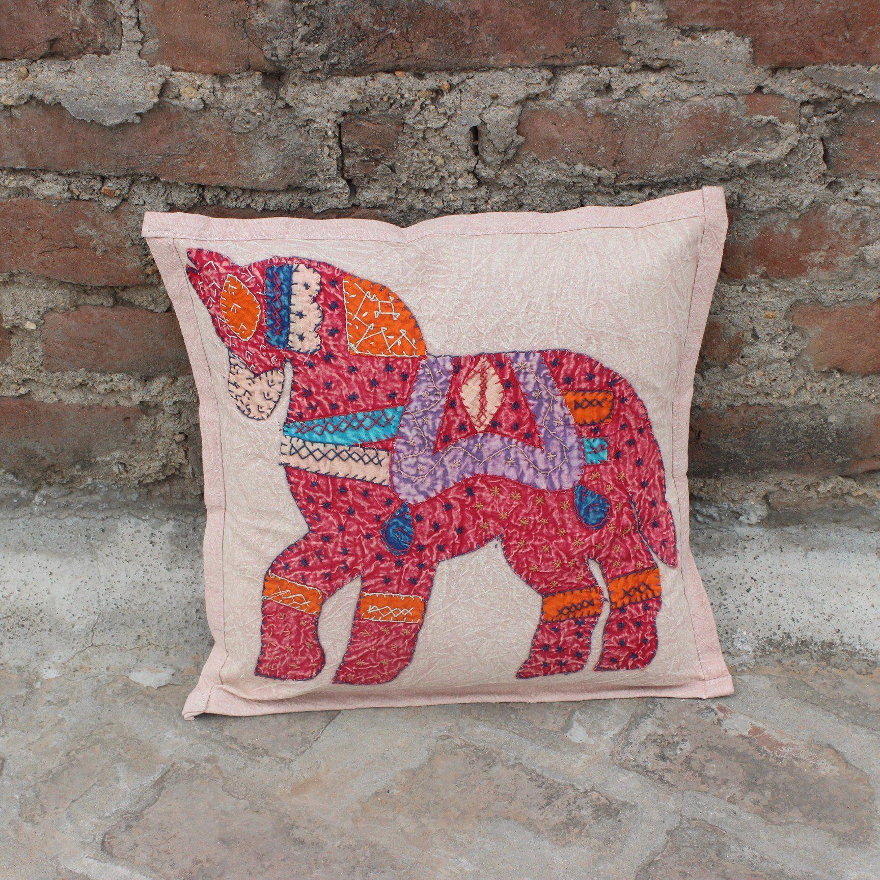 decorative boho accent unique pretty patchwork 16x16.htm 16x16 horse boho pillow indian cushion cover patchwork throw  horse boho pillow indian cushion cover