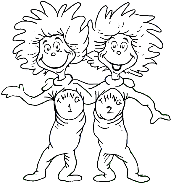 dr seuss coloring pages thing 1 and thing 2 - Dr Seuss Coloring Pages