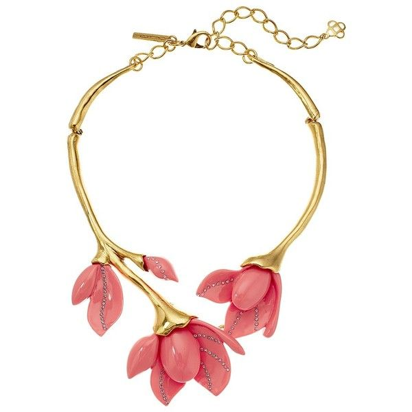 736b9c5e3 Oscar de la Renta Magnolia Resin Flower Necklace (Melon) Necklace ($690) ❤  liked on Polyvore featuring jewelry and necklaces