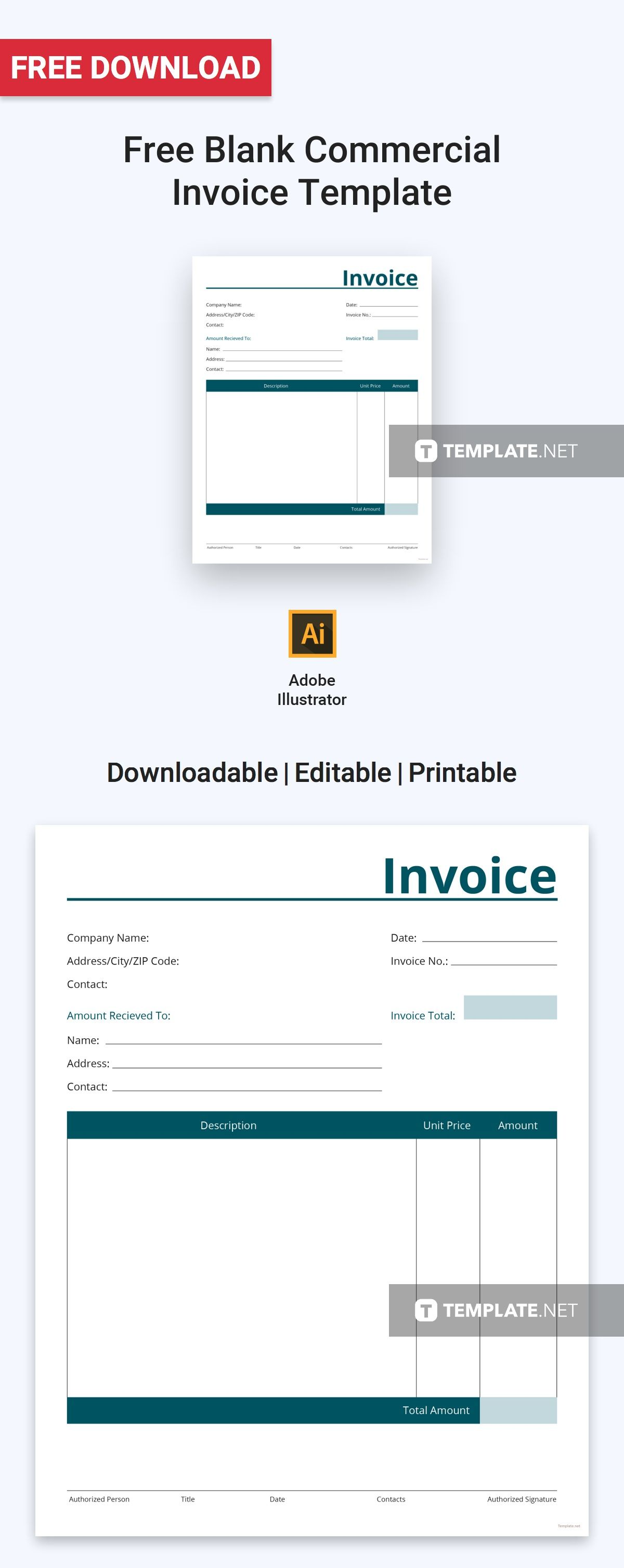 Blank Commercial Invoice Template Free Pdf Word Excel Psd Apple Pages Google Docs Google Sheets Illustrator Apple Numbers Invoice Template Invoice Design Template Invoice Template Word