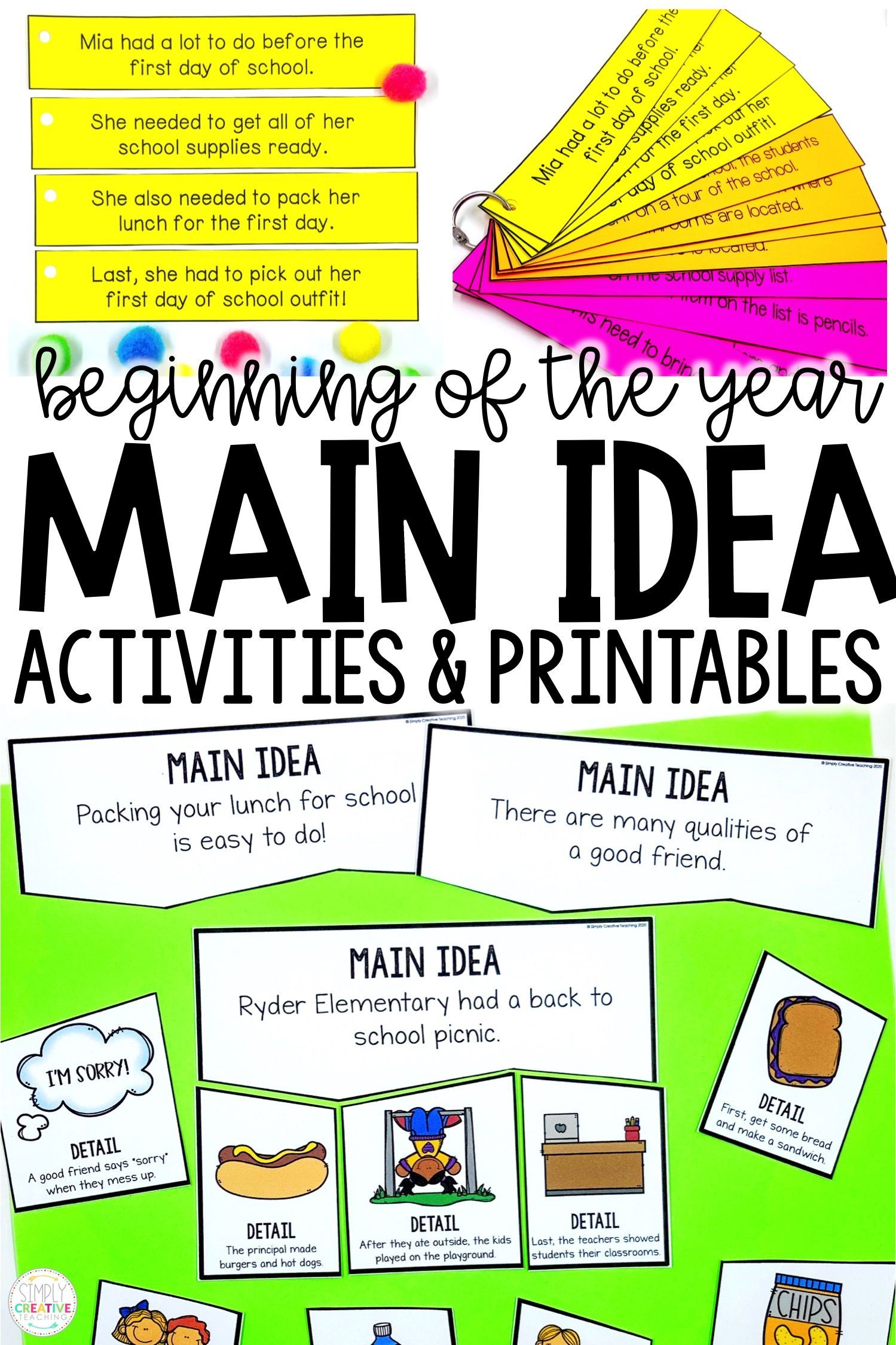 Main Idea Amp Details Activities For Back To School