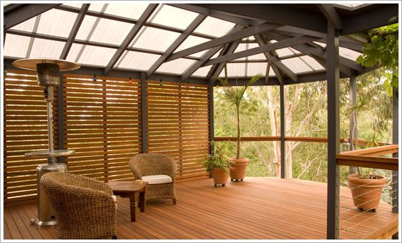 Covered deck with Suntuf with privacy screening. Beautiful! | Suntuf ...