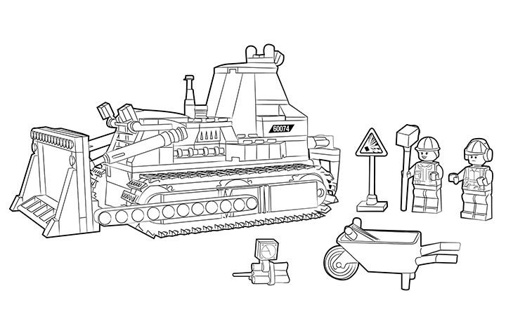60074 Bulldozer Colouring Page Activities Lego Coloring Pages Coloring Pages Lego Coloring