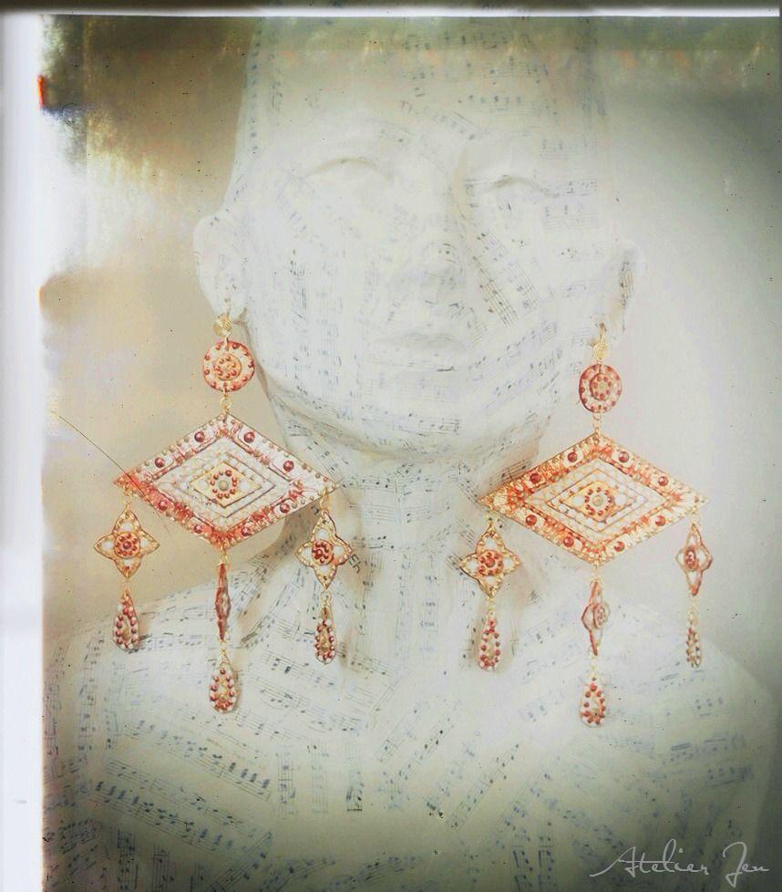 """""""Coquelicot"""" earrings by Atelier Jenwww.atelierjen.com"""