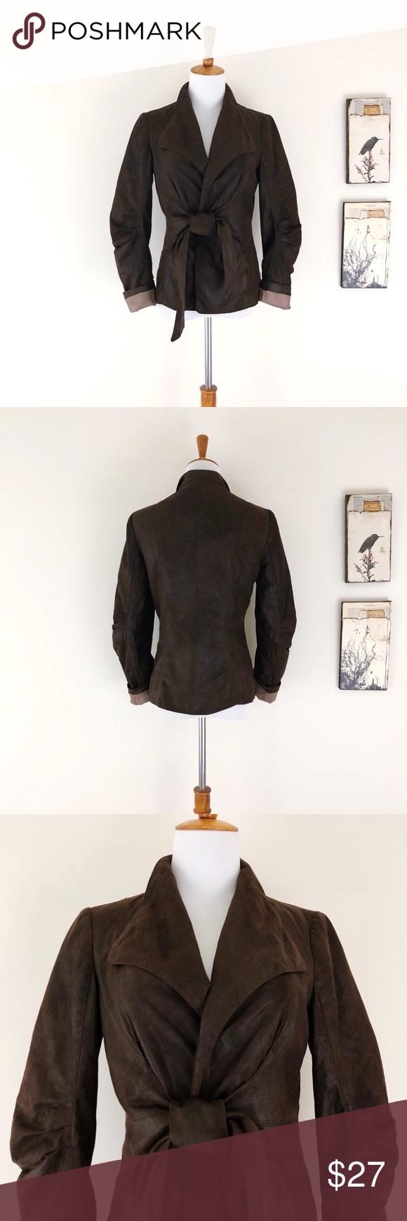 ZARA Brown Faux Suede Tie Front Open Jacket S Clothes