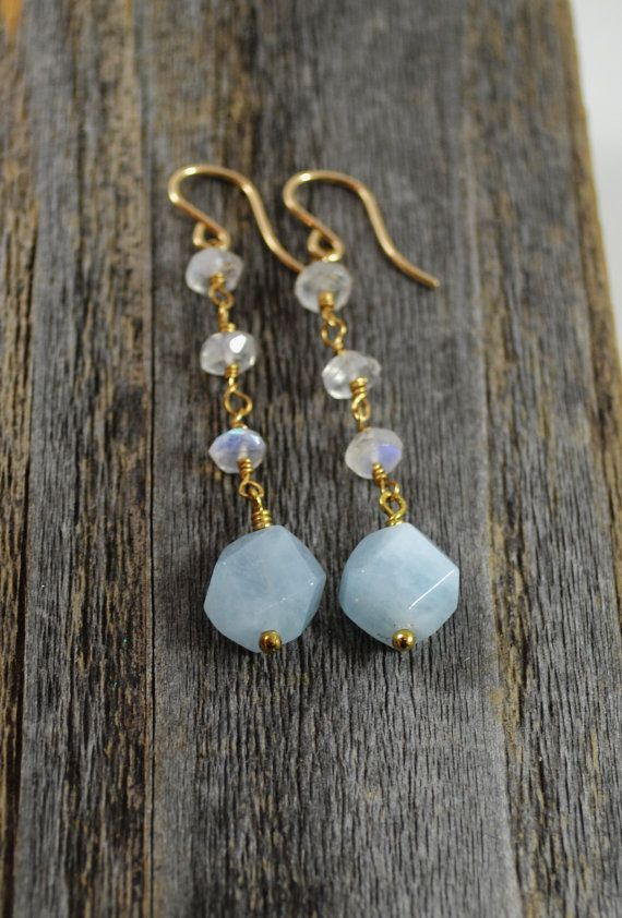 Photo of Items similar to Gemstone dangle earrings, long dangle earrings, aquamarine earring, moonstone jewelry, semi precious stone jewelry, wire wrapped earring on Etsy