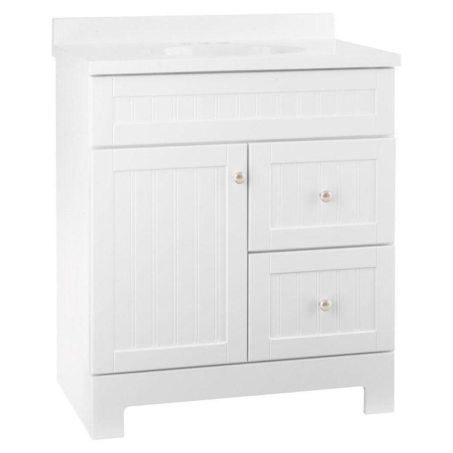Loweu0027s Style Selections Ellenbee White Integral Single Sink Bathroom Vanity  With Cultured Marble Top (Common: X Actual: X