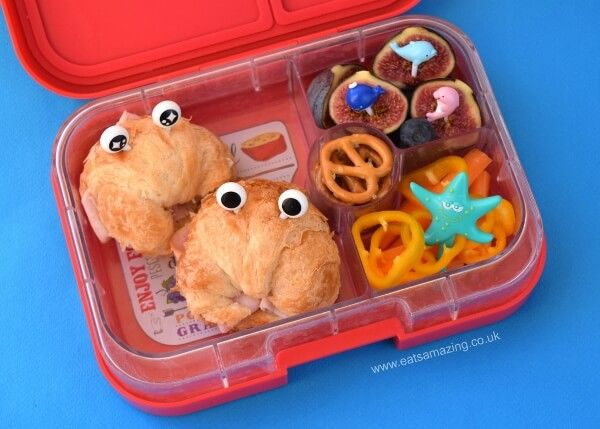 mini croissants make great crabs for under the sea themed food fun kids school lunch idea in the yumbox uk bento box from eats amazing uk