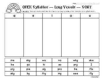 Open Syllables Long Vowel Sort Sorting Worksheet With Images
