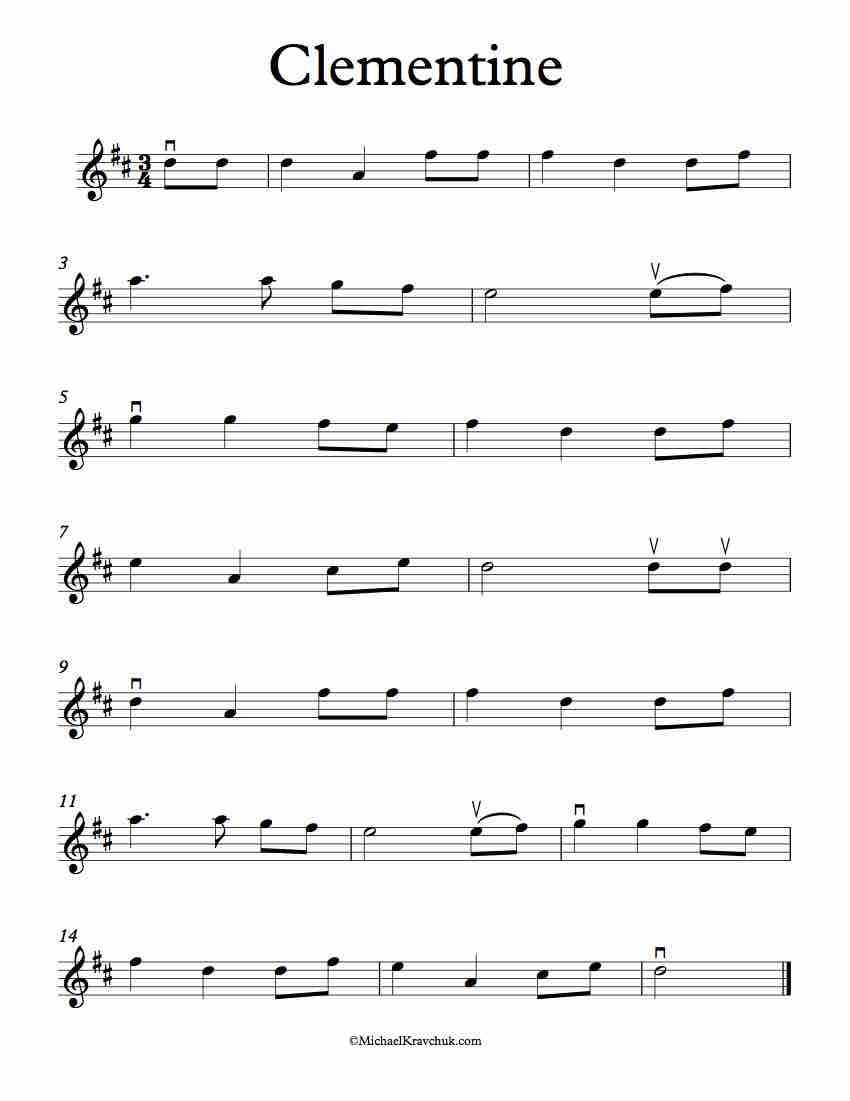 Here is free violin sheet music for Clementine in the keys
