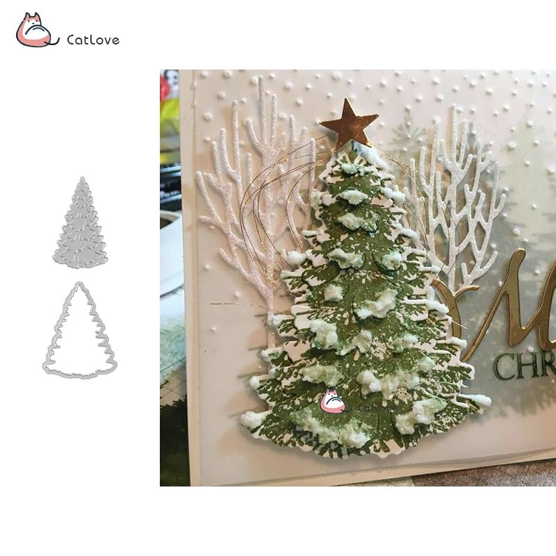 Christmas Tree Cutting Dies Xmas Card Metal Stencil DIY Scrapbooking Paper Craft