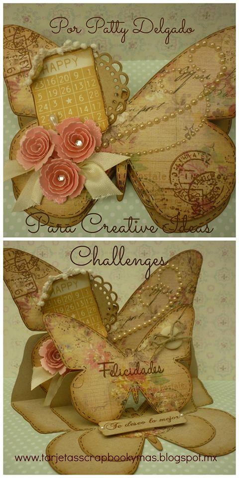 Tarjeta doble en forma de mariposa, buterfly doble card.