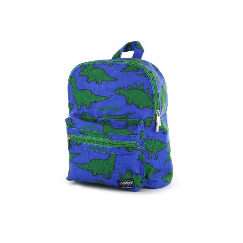cff6e6bcdb9 ... rugzak van Shoesme. De leuke jongensrugzak is uitgevoerd van  kobaltblauw canvas, met overall groen dinoprint. Het voorvak