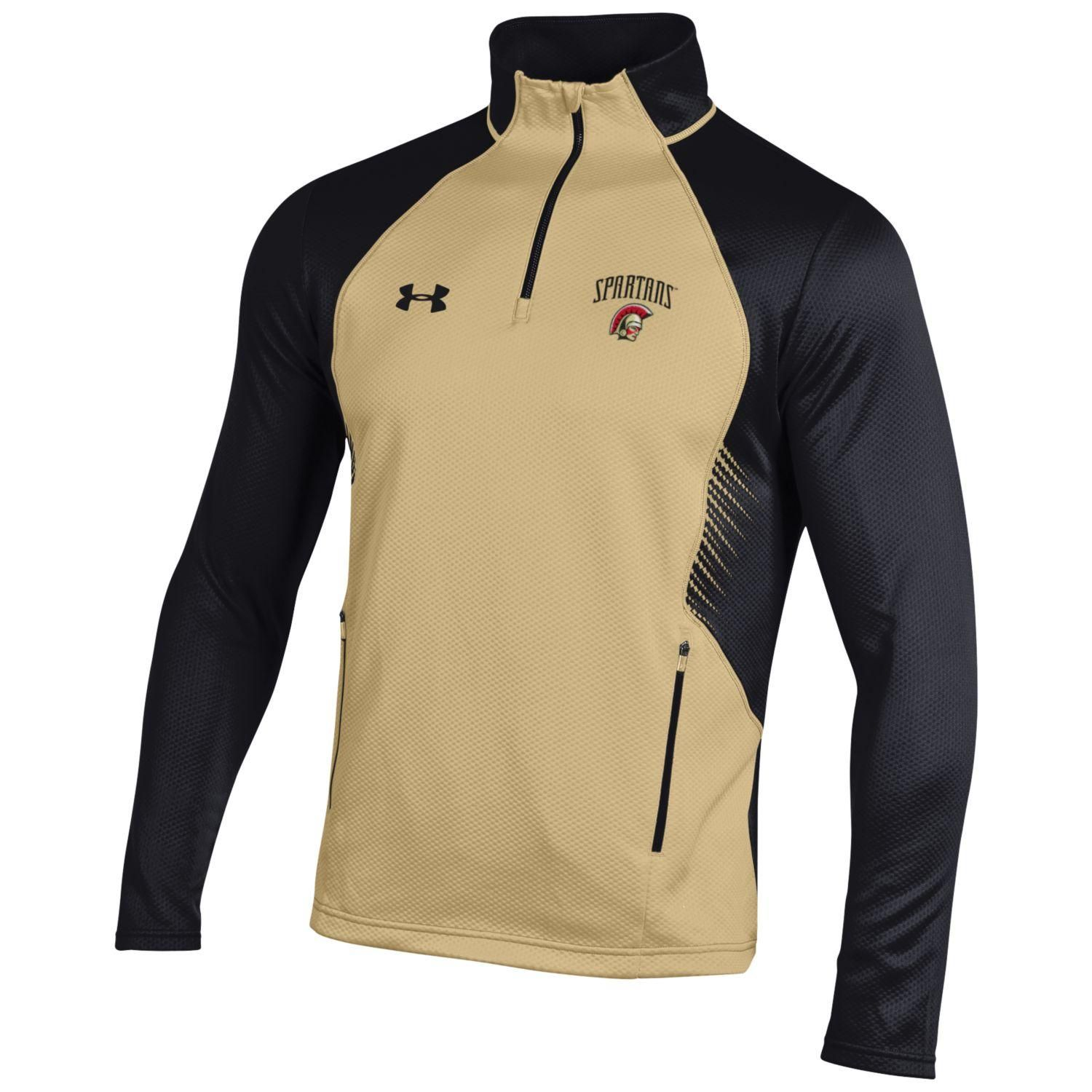 52a1171f7246 Under Armour special sleeve 1 4 zip pullover in vegas gold and black.  Embroidered logo on left chest. Adult sizes S - 2X