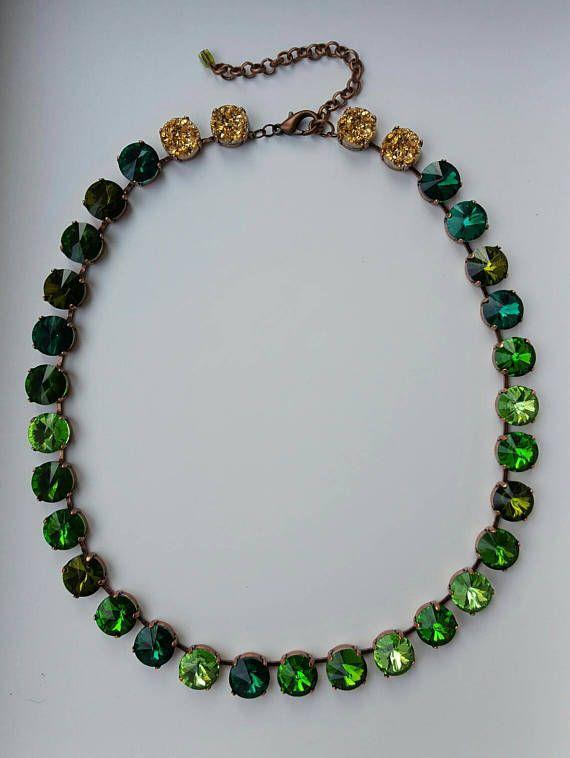 Emerald Crystal Necklace Georgian Collet Wedding Jewellery