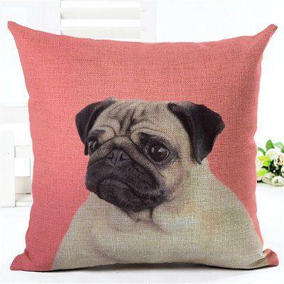 Pug Dog Pink Pillow Case