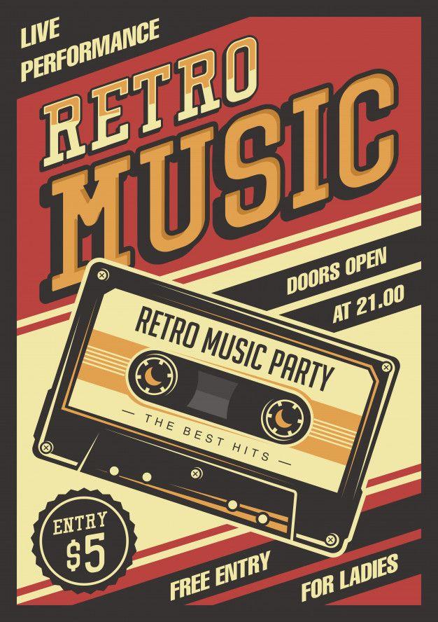 Retro Music Compact Cassette Vintage Signage Poster